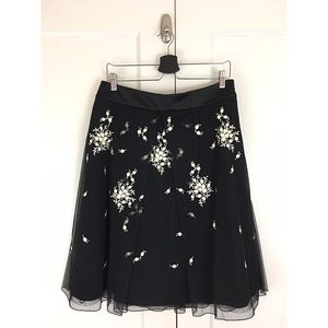 Ann Taylor Tulle Embroidered Black A Line Skirt 10